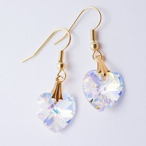Handmade Crystal Heart Gold Plated Earrings